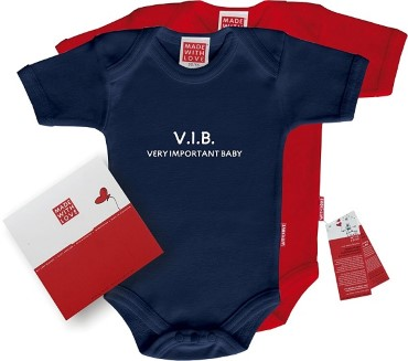 "Roter oder blauer Body: ""Very important baby!"", inklusive Geschenkverpackung"