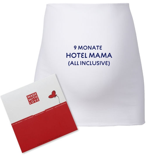 "Umstandsmode, Bauchband in 4 Farben ""9 Monate Hotel Mama (all inclusive)"", inklusive Geschenkverpackung"