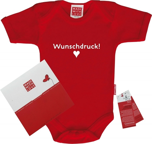 "Farbiger Baby-Body rot ""Wunschdruck!"", inklusive Geschenkverpackung"