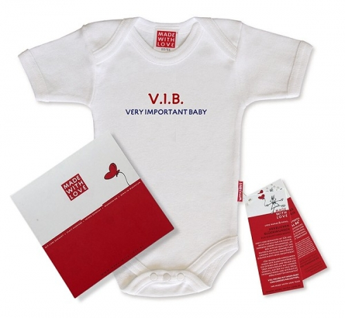 "Body Baby weiß, ""V.I.B - Very Important Baby!"", inklusive Geschenkverpackung"