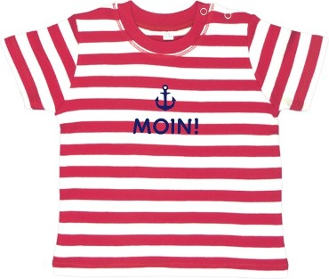 "Rotes Ringel-Babyshirt: ""Moin!"", inklusive Geschenkverpackung"