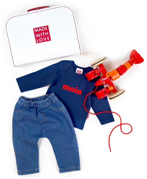 Baby Outfit Junge, Baby Outfit Mädchen - Baby Jeanshose Bio Baumwolle, Baby Shirt Moin, Ziehtier Hummer, im Spielkoffer