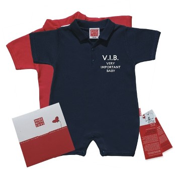 "Babykleidung Sommer, Polo Body,  ""V.I.B - Very Important Baby!"" inklusive Geschenkverpackung"