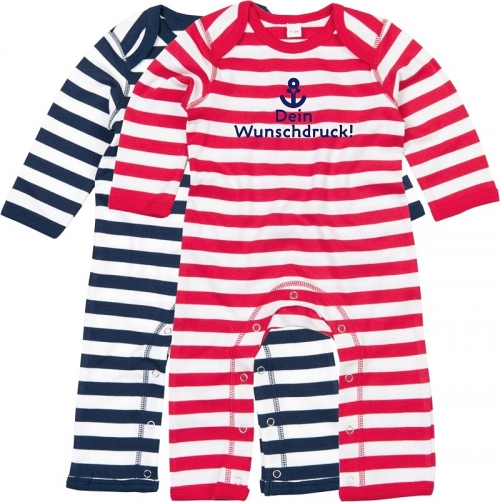"Overall Baby, Ringel in rot / blau ""Wunschdruck"""