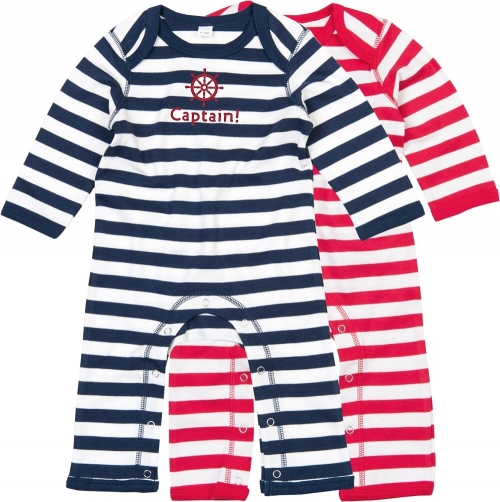 "Overall Baby, Ringel in rot / blau ""Captain!"""