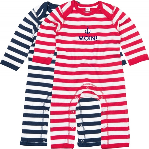 "Overall Baby, Ringel in rot / blau ""Moin!"", inklusive Geschenkverpackung"