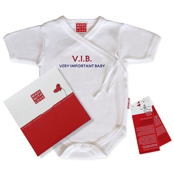 "Weißer Wickelbody ""V.I.B - Very Important Baby!"", inklusive Geschenkverpackung"