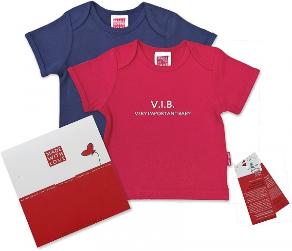 "Buntes T-Shirt für Babys: ""V.I.B - Very Important Baby!"", inklusive Geschenkverpackung"